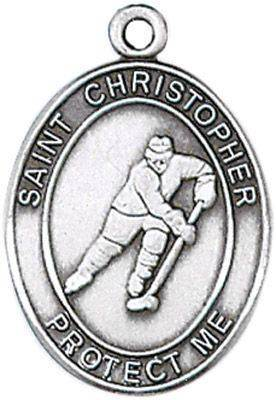 St. Christopher Sports Medal-Hockey silver necklace, st. christopher necklace, sports necklace, girl necklace, boy necklace, athlete gift,  first communion gift, reconciliation gift, sacramental gift, sport gifT, hockey gift, hockey medal