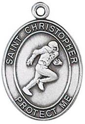 St. Christopher Sports Medal-Football silver necklace, st. christopher necklace, sports necklace, girl necklace, boy necklace, athlete gift,  first communion gift, reconciliation gift, sacramental gift, sport gift,football medal, football gift