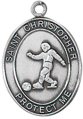 St. Christopher Sports Medal-Soccer silver necklace, st. christopher necklace, sports necklace, girl necklace, boy necklace, athlete gift,  first communion gift, reconciliation gift, sacramental gift, sport gift, soccer medal, soccer gift