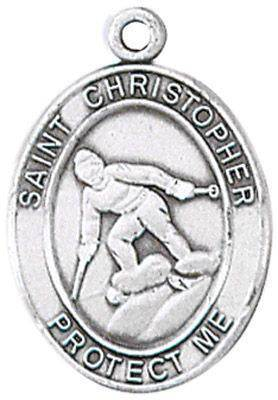 St. Christopher Sports Medal-Skiing silver necklace, st. christopher necklace, sports necklace, girl necklace, boy necklace, athlete gift,  first communion gift, reconciliation gift, sacramental gift, sport gift, skiing gift, skiing medal