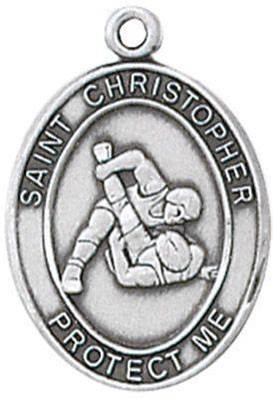 St. Christopher Sports Medal-Wrestling silver necklace, st. christopher necklace, sports necklace, girl necklace, boy necklace, athlete gift,  first communion gift, reconciliation gift, sacramental gift, sport gift, wrestling gift, wrestling medal