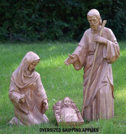 "34"" Scale Carved-Look Wilderness 3 Piece Nativity *WHILE SUPPLIES LAST* outdoor nativity, indoor nativity, carved look nativity, christmas gift, christmas decor, yard decor, church gift, church items, holy family,38090"