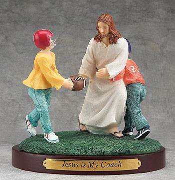Jesus Sports Statue-Football jesus is my coach, sports statue, first communion gift, reconciliation gift, confirmation gift, youth gift, birhtday gift, boy gift, girl gift, sport gift, athlete gift, football gift, football statue