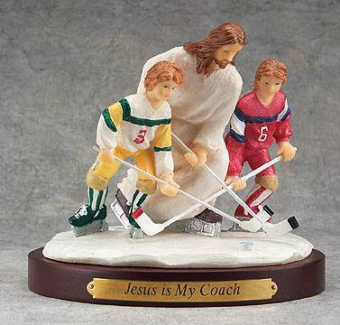 Jesus Sports Statue-Hockey jesus is my coach, sports statue, first communion gift, reconciliation gift, confirmation gift, youth gift, birhtday gift, boy gift, girl gift, sport gift, athlete gift, hockey gift, hockey statue