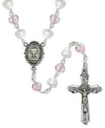 Pink and White Heart Rosary