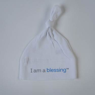 I am a blessing ™Hat cmas15n, baby gear, hat, i am a blessing, white hat, blue words, youth, girl, boy, baby gift, baby shower gift, baptism gift,
