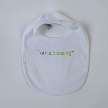 I am a blessing ™Bib cmas15n, baby gear, hat, i am a blessing, white bib, green words, youth, girl, boy, baby gift, baby shower gift, baptism gift,