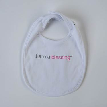 I am a blessing™ Bib cmas15n, baby gear, hat, i am a blessing, white bib, pink words, youth, girl, boy, baby gift, baby shower gift, baptism gift,