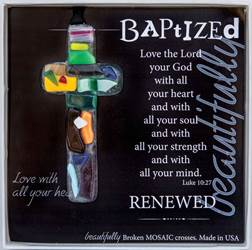 "Baptized: Handmade 4"" Glass Cross"