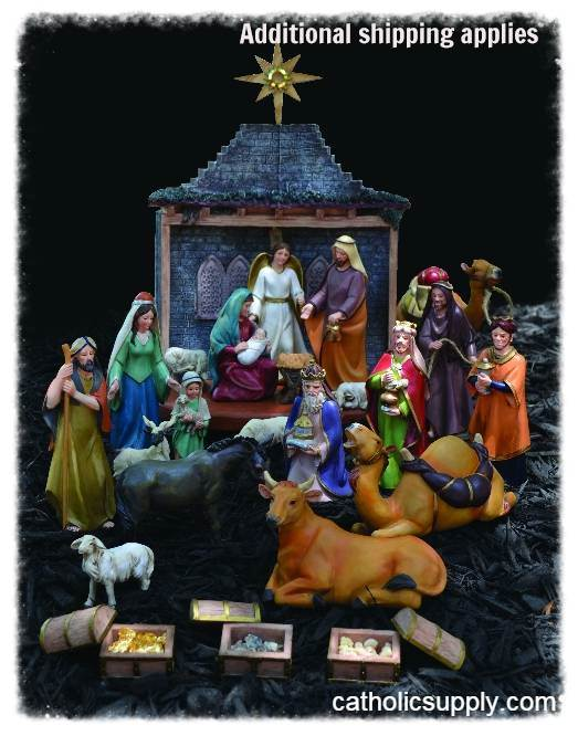 "7"" 26 Piece Bethlehem Nativity Set *WHILE SUPPLIES LAST* frca7, frca10, HOLY LAND IMPORTS, HOLY LAND IMPORTED NATIVITY SET, holy land nativity set, nativity set from the holyland, nativity from the holy land, bethlehem, nativity set with real gold, nativity set with first gifts, nativity set with real gifts from wisemen, nativity set with kings gifts, three kings gifts nativity set, BF14"