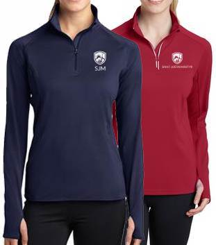 BEST SELLER! Ladies Quarter Zip Performance Pullover with Embroidered School Logo *Spiritwear*