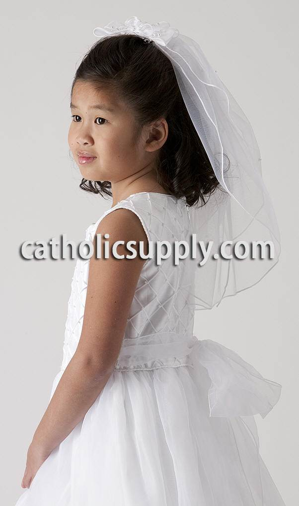 Ribbons And Pearls First Communion Veil  Clip