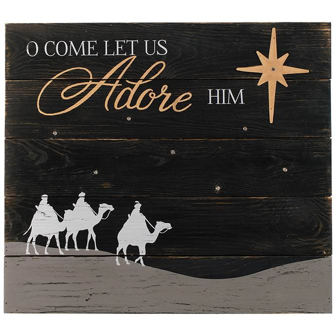 O Come Let Us Adore Him LED Wall Decor