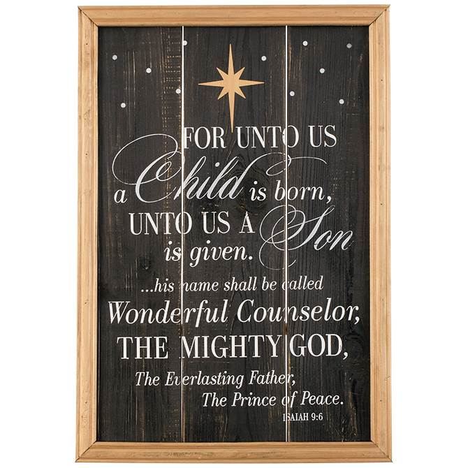 For Unto Us A Child Is Born Wall Decor