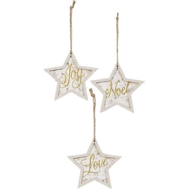 Assorted Joy, Noel, or Love Star Ornaments