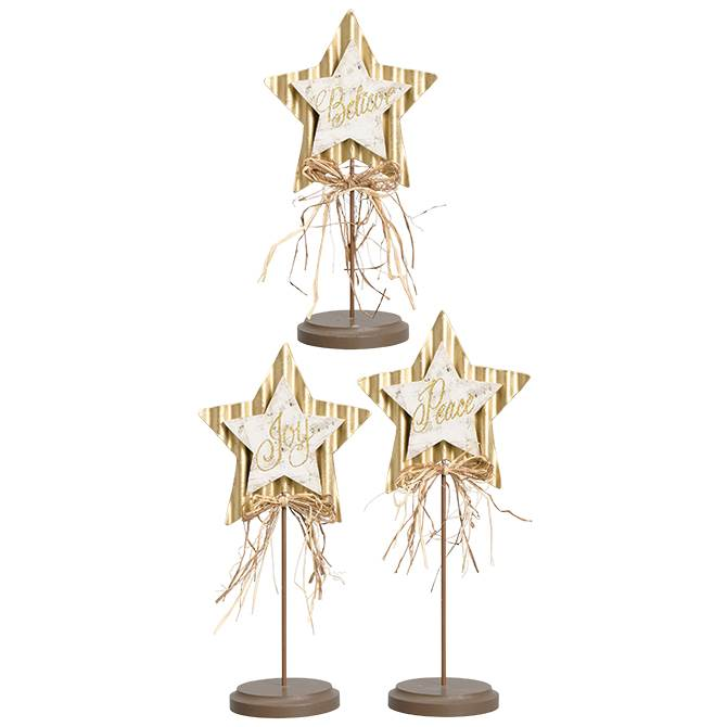 "Set ""Believe, Joy, Peace"" Pedestal Stars"