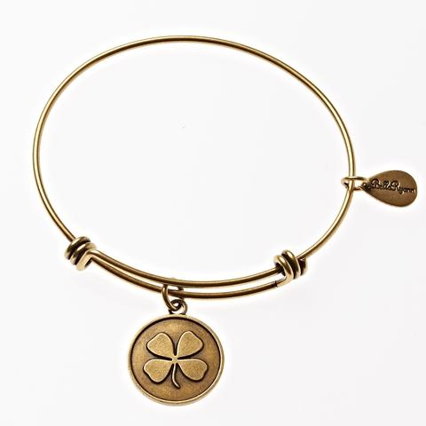 Gold Four Leaf Clover Bangle Bracelet