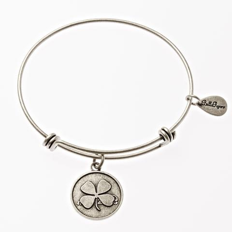 Silver Four Leaf Clover Bangle Bracelet