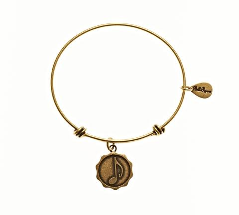 Gold Music Note Bangle Bracelet
