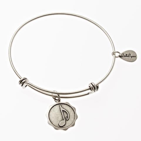 Silver Music Note Bangle Bracelet
