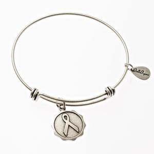 Silver Awareness Ribbon Bangle Bracelet
