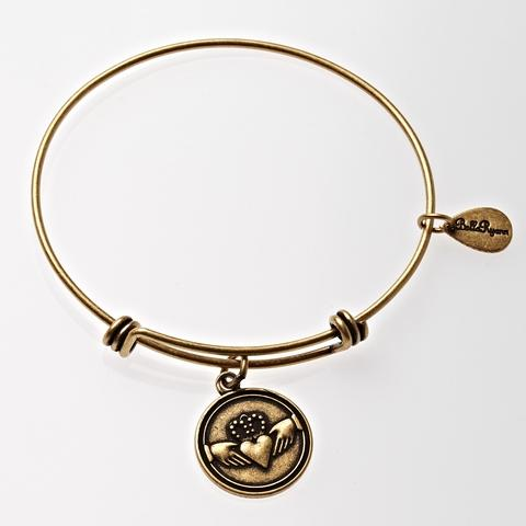 Gold Claddagh Bangle Bracelet