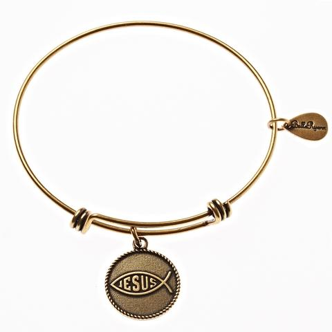 Gold Jesus Fish Bangle Bracelet
