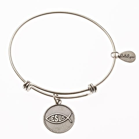 Silver Jesus Fish Bangle Bracelet