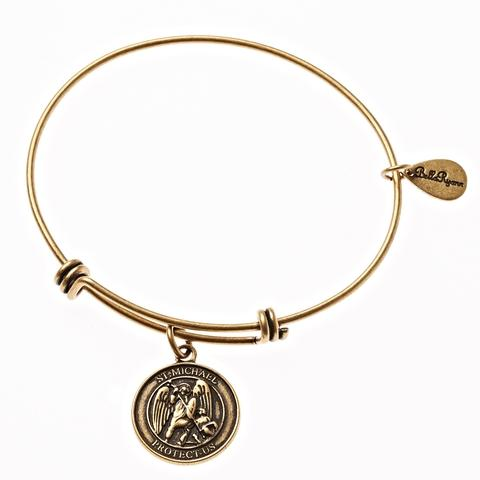 Gold St. Michael Bangle Bracelet