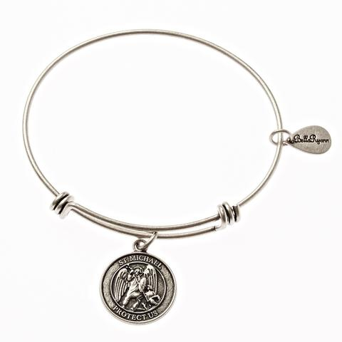 Silver St. Michael Bangle Bracelet