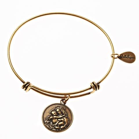Gold Mother Mary Bangle Bracelet