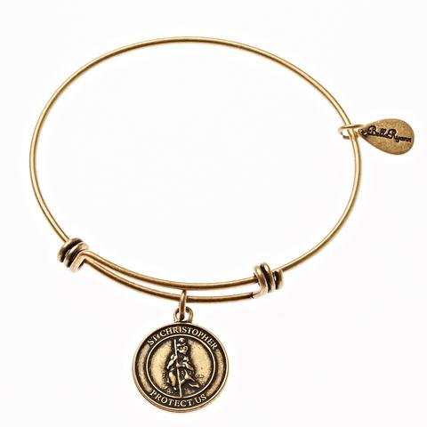 Gold St. Christopher Bangle Bracelet