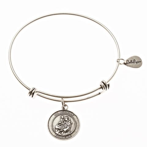 Silver St. Anthony Bangle Bracelet