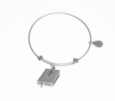 Silver Holy Bible Bangle Bracelet
