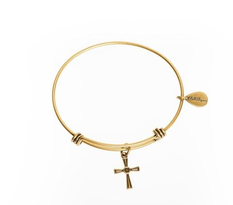 Gold Cross Bangle Bracelet