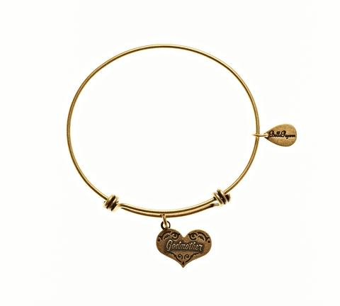 Gold Godmother Charm Bangle Bracelet