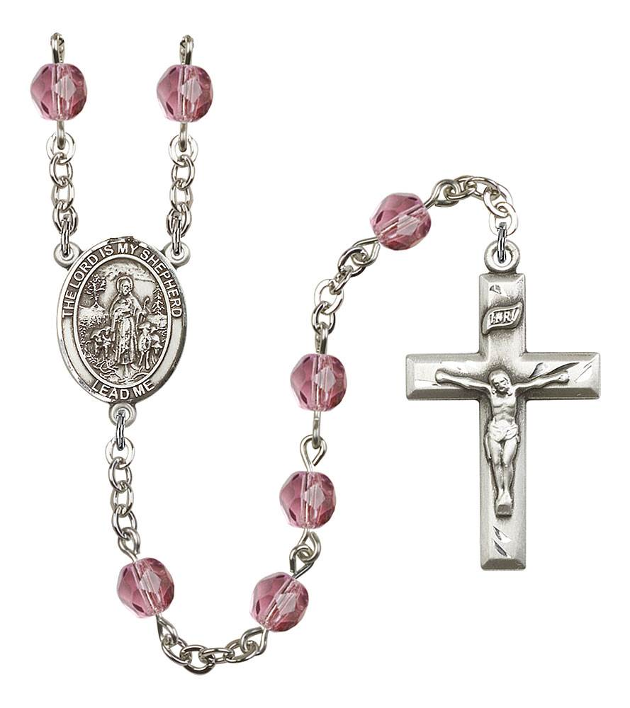 Lord Is My Shepherd Patron Saint Rosary, Square Crucifix patron saint, patron saint rosary, rosary sacramental gifts, Lord Is My Shepherd Patron Saint Rosary,patron saint of ,Amethyst, silver plated,8119