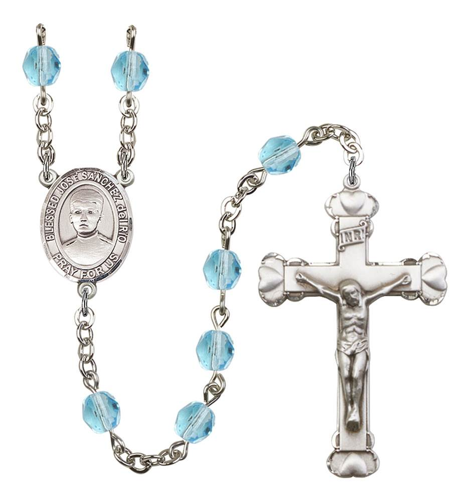 Blessed Jose Canchez del Rio Patron Saint Rosary, Scalloped Crucifix patron saint, patron saint rosary, rosary sacramental gifts, Blessed Jose Canchez del Rio mPatron Saint Rosary,patron saint of ,Amethyst, silver plated,8446