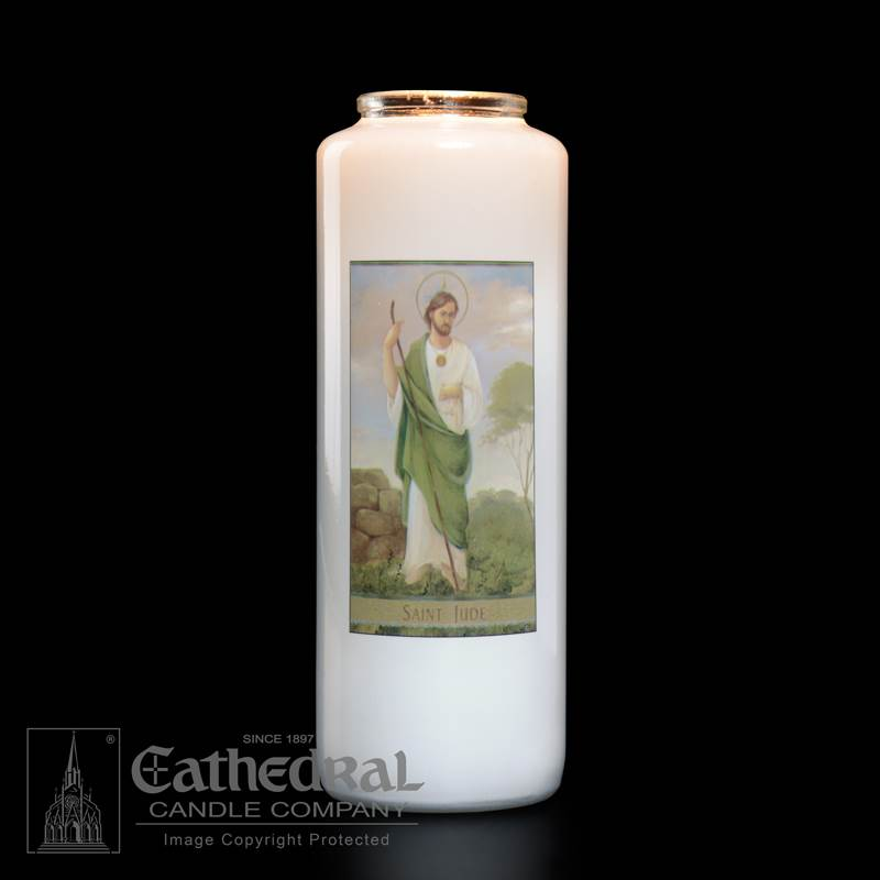 St. Jude Bottlelight Candle candle, bottlelight candle, st. jude candle, glass bottle, patron saint of hopeless causes, patron saint cadle, 6 day candle, church goods, devotional candle, 2106, SJTS