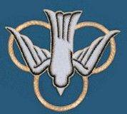 Embroidered Dove Applique applique, dove, hand embroidered, church goods, apparel designs, 1620. gaiser, beau veste,