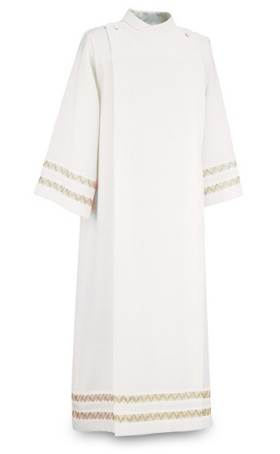 300-87 Front Wrap Alb in White Ravenna Fabric- Gold