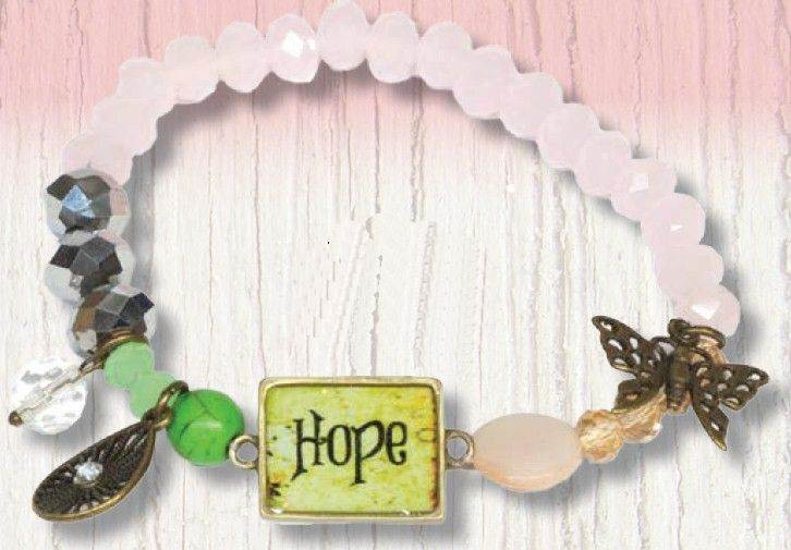 Hope Stretch Beaded Bracelet with Charms