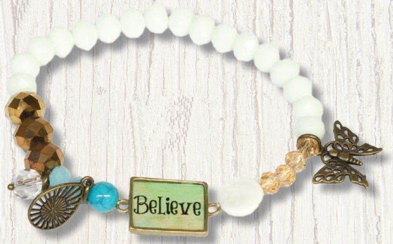 Believe Stretch Beaded Bracelet with Charms