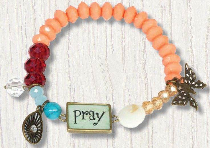Pray Stretch Beaded Bracelet with Charms