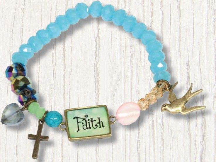 Faith Stretch Beaded Bracelet with Charms