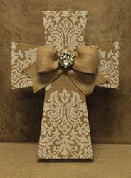 "14"" Burlap Cross with Bow and Jewel burlap cross, wall cross, ribbon cross, jewel cross, wedding gift, new home gift, FC-2433"