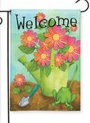 Welcome Frog Spring Garden Flag