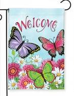 Welcome Butterfly Garden Flag