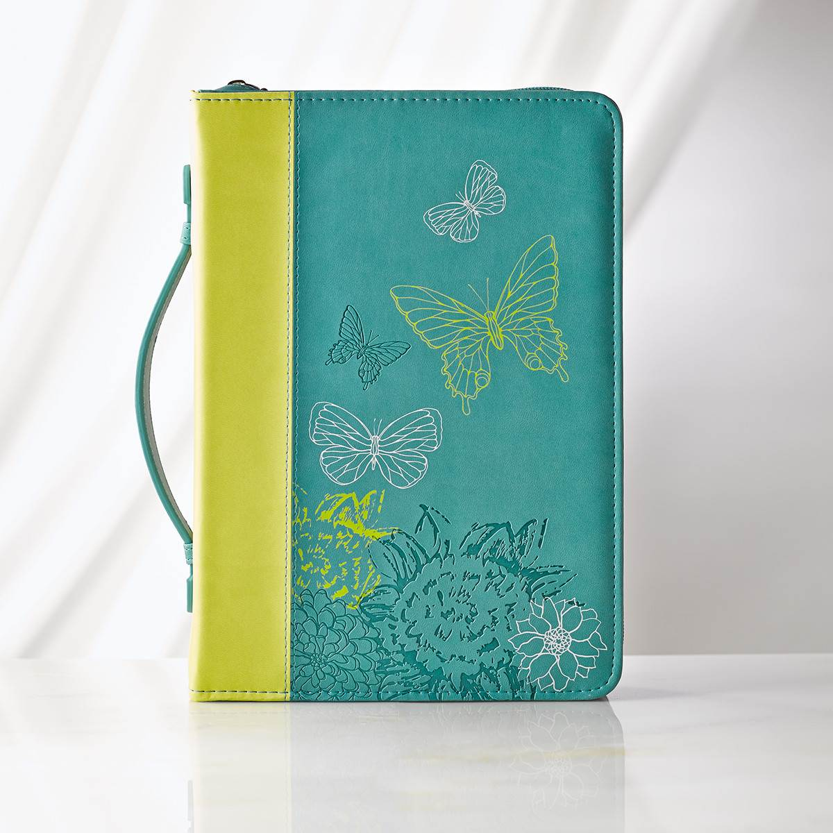 Large Lime/Dusty Blue Butterflies Bible Cover
