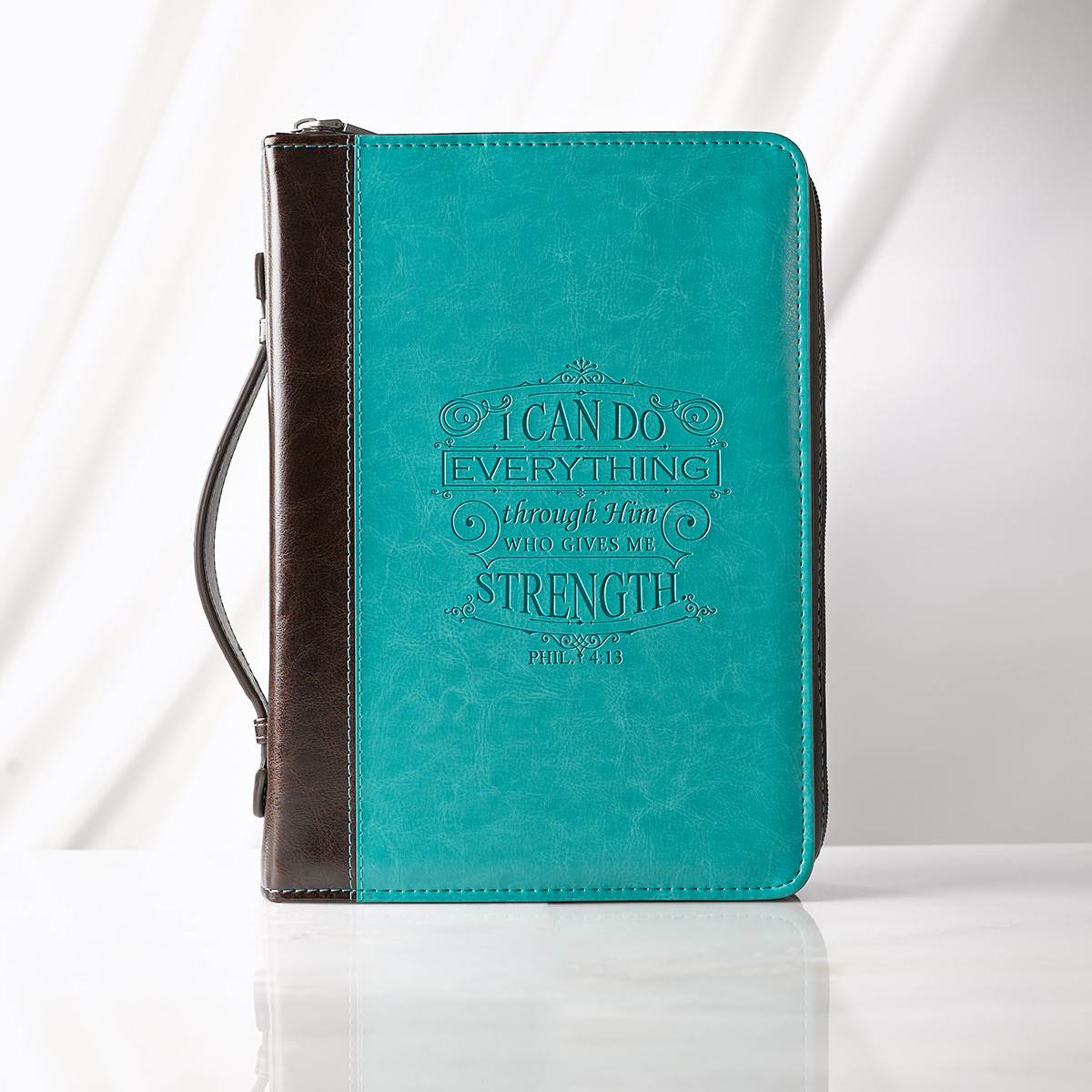 Large I Can Do Everything Aqua Bible Cover